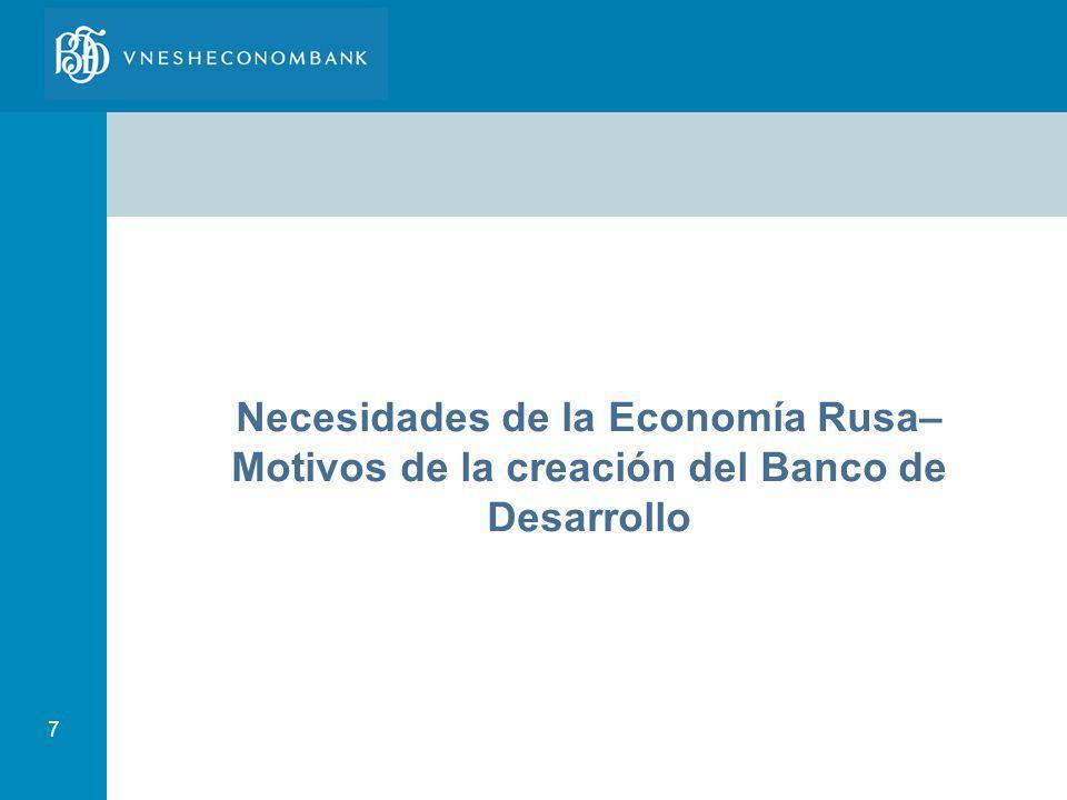 Necesidades de la Economía Rusa–Motivos de la creación del Banco de Desarrollo