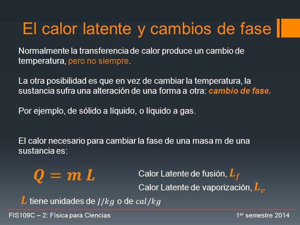 El calor latente y cambios de fase