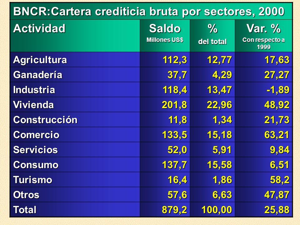 BNCR:Cartera crediticia bruta por sectores, 2000 Actividad Saldo %