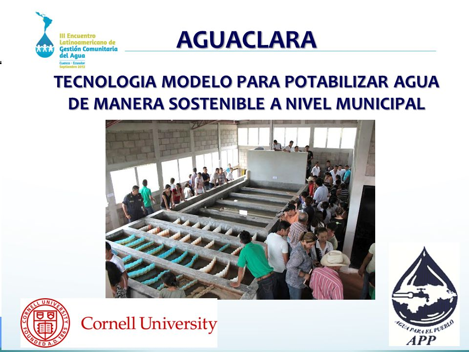 AGUACLARA TECNOLOGIA MODELO PARA POTABILIZAR AGUA