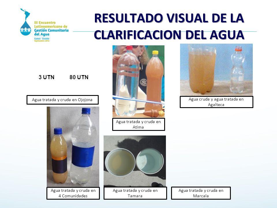 RESULTADO VISUAL DE LA CLARIFICACION DEL AGUA