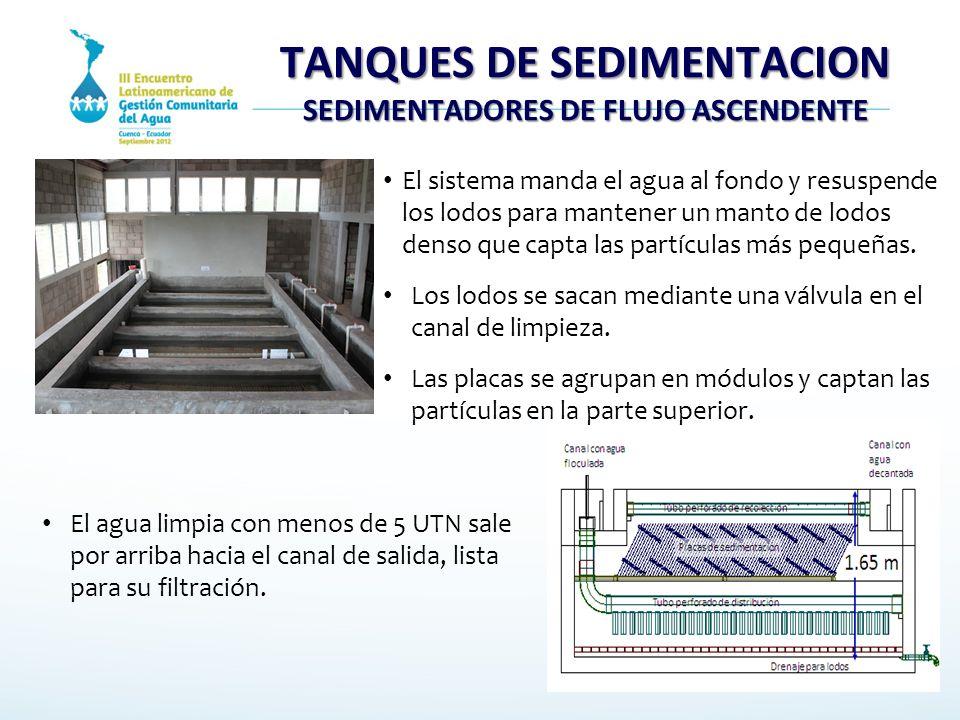 TANQUES DE SEDIMENTACION SEDIMENTADORES DE FLUJO ASCENDENTE
