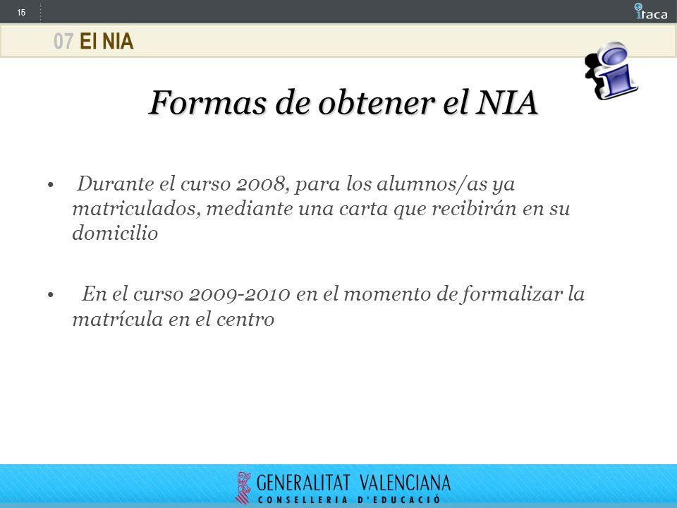 Formas de obtener el NIA