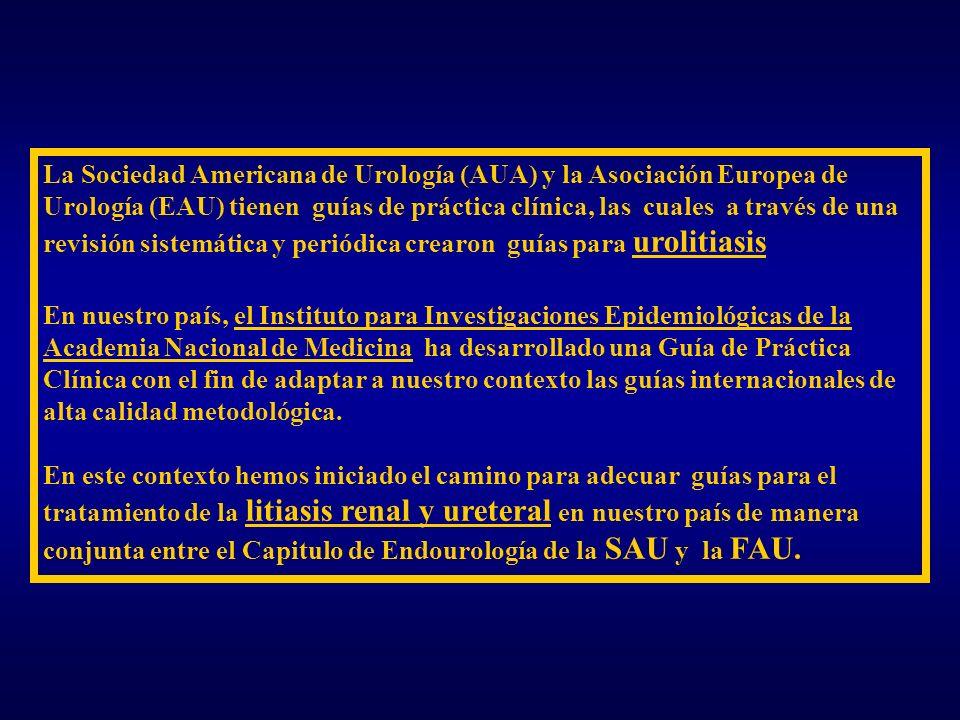 La Sociedad Americana de Urología (AUA) y la Asociación Europea de Urología (EAU) tienen guías de práctica clínica, las cuales a través de una revisión sistemática y periódica crearon guías para urolitiasis