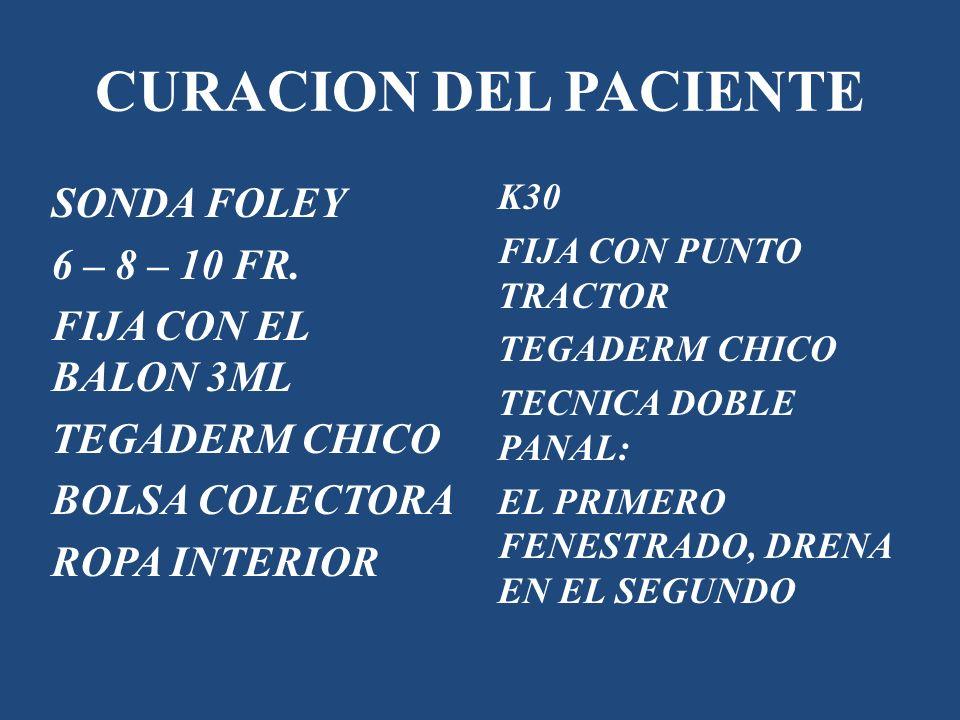 CURACION DEL PACIENTE SONDA FOLEY 6 – 8 – 10 FR. FIJA CON EL BALON 3ML
