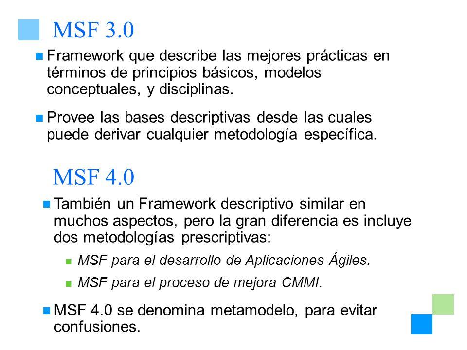 MSF 3.0 Framework que describe las mejores prácticas en términos de principios básicos, modelos conceptuales, y disciplinas.