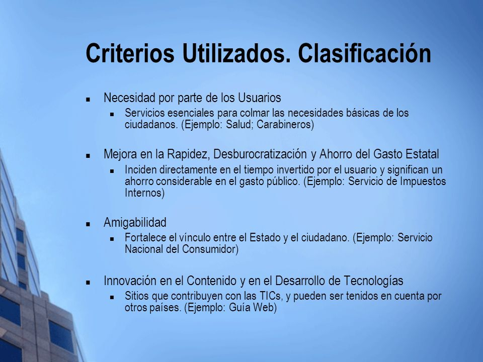 Criterios Utilizados. Clasificación