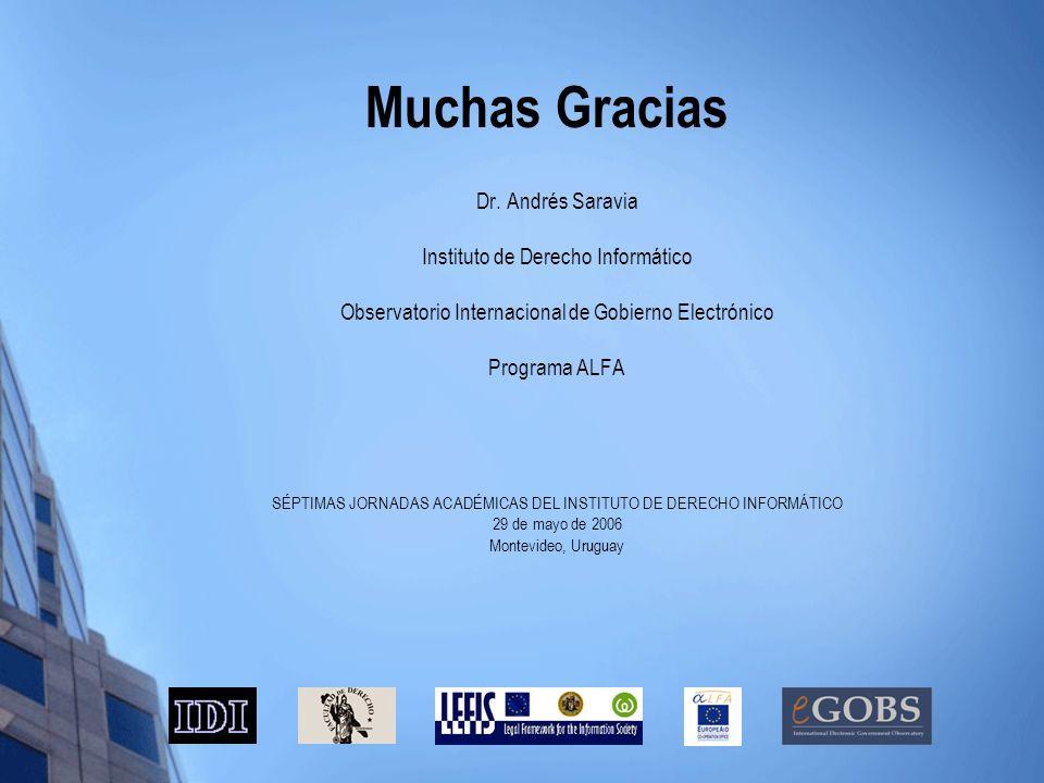 Muchas Gracias Dr. Andrés Saravia Instituto de Derecho Informático