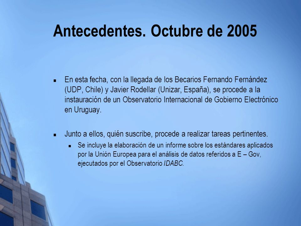 Antecedentes. Octubre de 2005