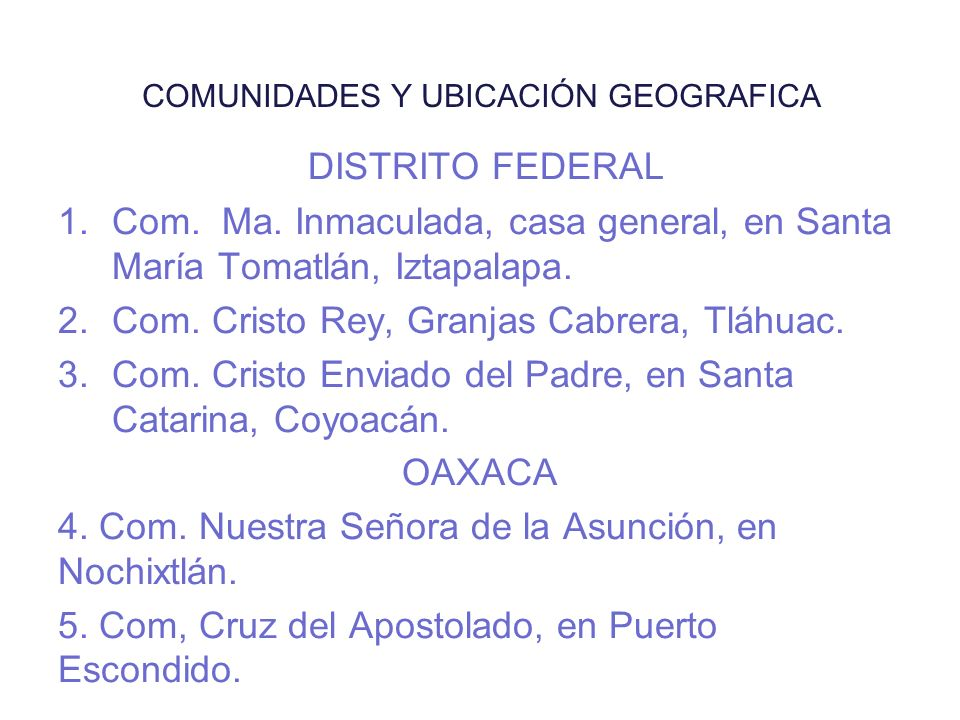 COMUNIDADES Y UBICACIÓN GEOGRAFICA