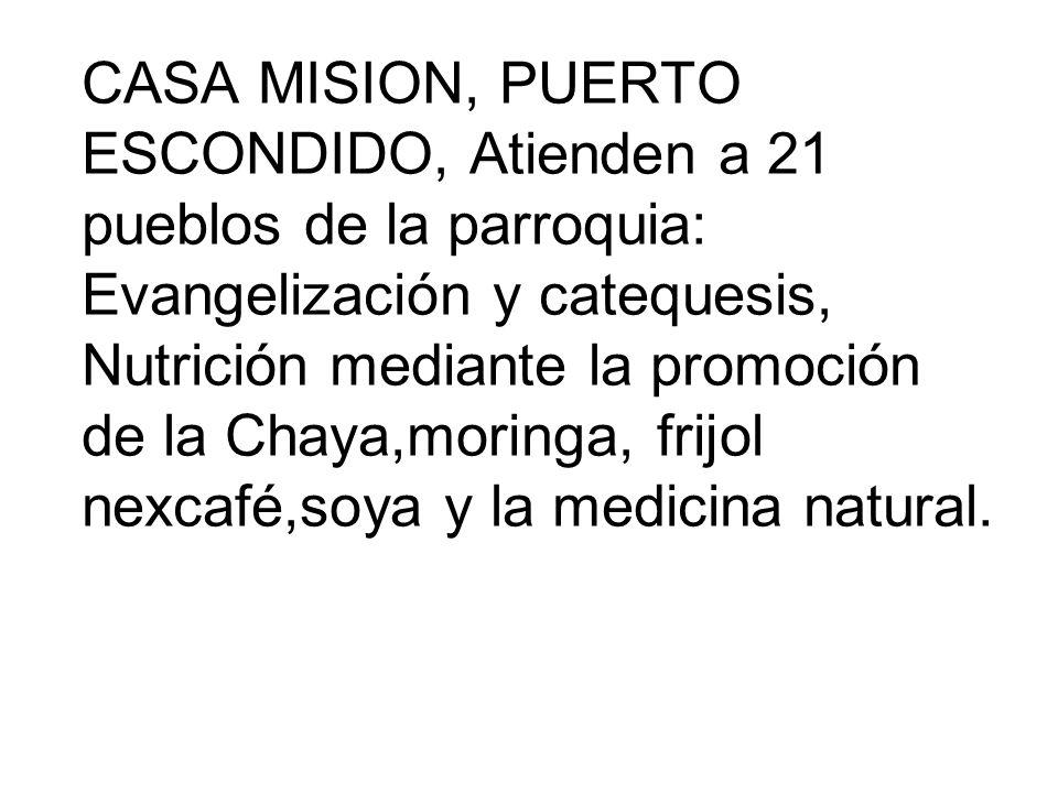 CASA MISION, PUERTO ESCONDIDO, Atienden a 21 pueblos de la parroquia: Evangelización y catequesis, Nutrición mediante la promoción de la Chaya,moringa, frijol nexcafé,soya y la medicina natural.