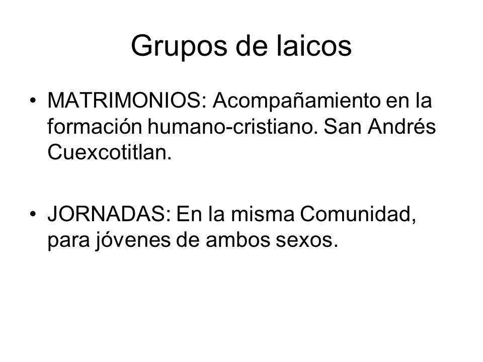 Grupos de laicos MATRIMONIOS: Acompañamiento en la formación humano-cristiano. San Andrés Cuexcotitlan.