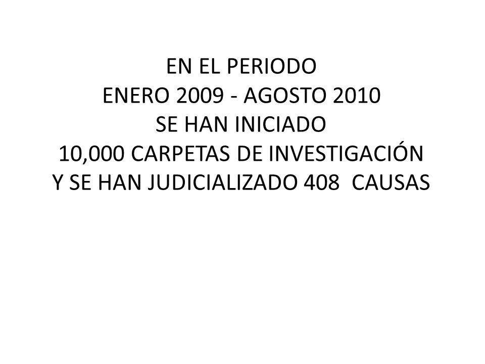 EN EL PERIODO ENERO 2009 - AGOSTO 2010 SE HAN INICIADO 10,000 CARPETAS DE INVESTIGACIÓN Y SE HAN JUDICIALIZADO 408 CAUSAS