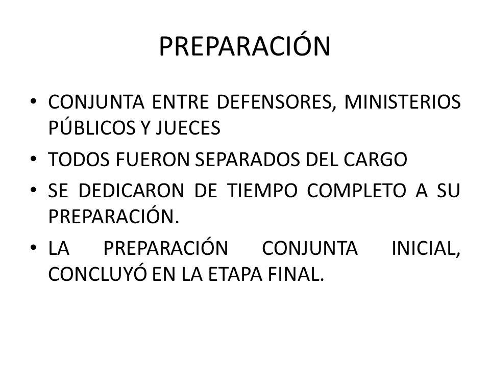 PREPARACIÓN CONJUNTA ENTRE DEFENSORES, MINISTERIOS PÚBLICOS Y JUECES