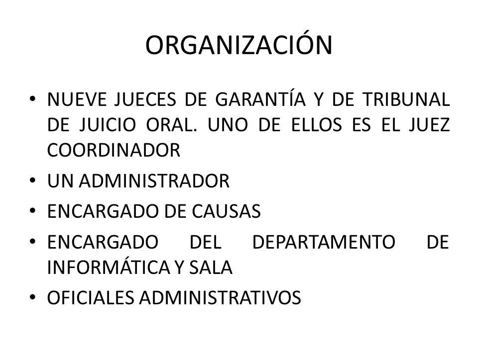 ORGANIZACIÓNNUEVE JUECES DE GARANTÍA Y DE TRIBUNAL DE JUICIO ORAL. UNO DE ELLOS ES EL JUEZ COORDINADOR.