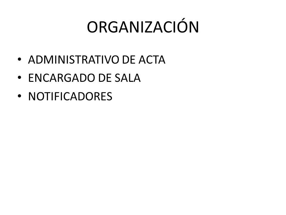 ORGANIZACIÓN ADMINISTRATIVO DE ACTA ENCARGADO DE SALA NOTIFICADORES