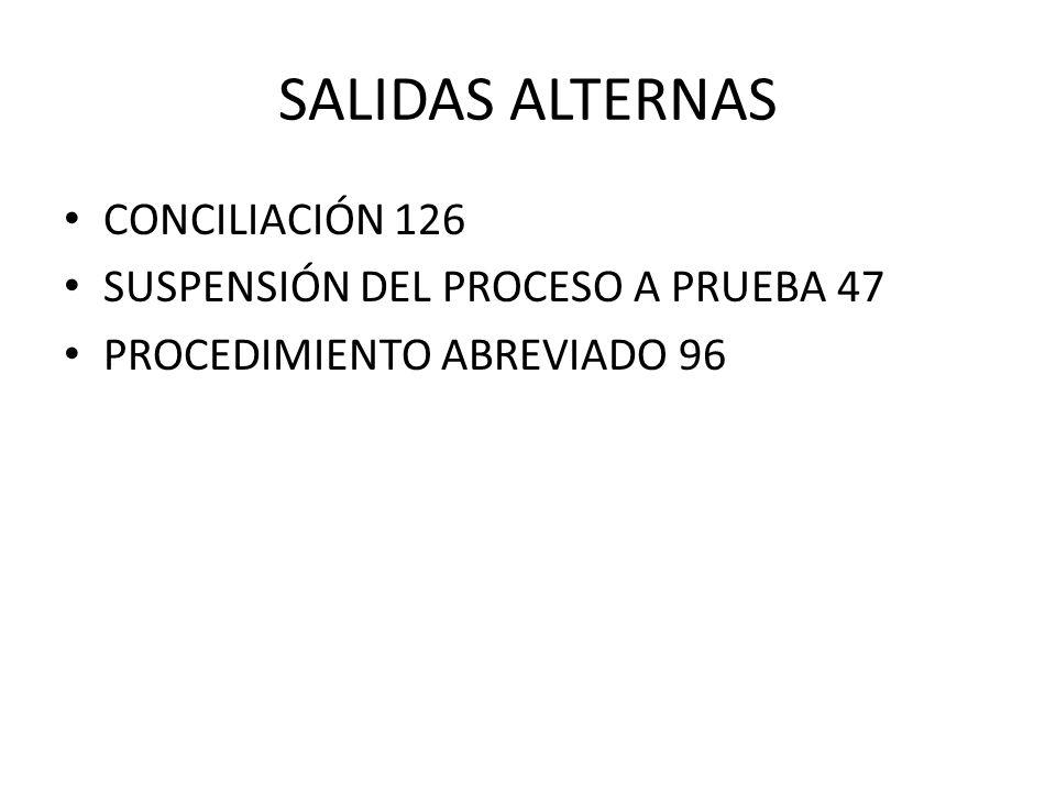 SALIDAS ALTERNAS CONCILIACIÓN 126 SUSPENSIÓN DEL PROCESO A PRUEBA 47