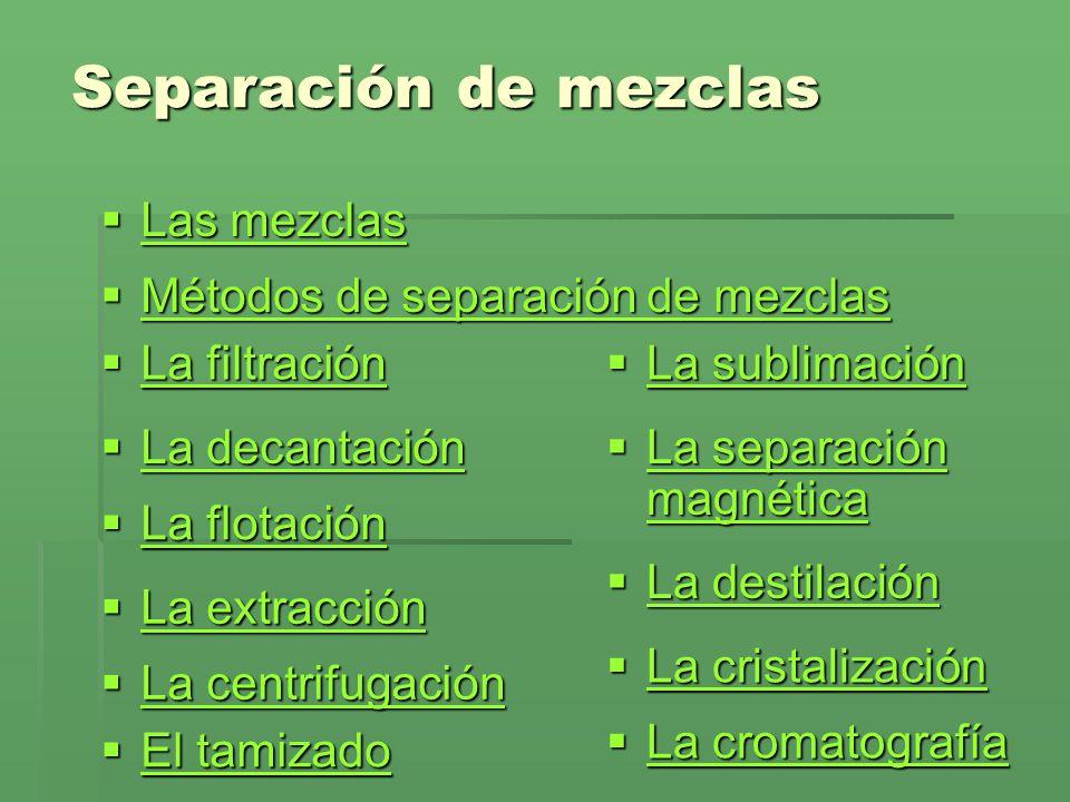 Separación de mezclas Las mezclas Métodos de separación de mezclas