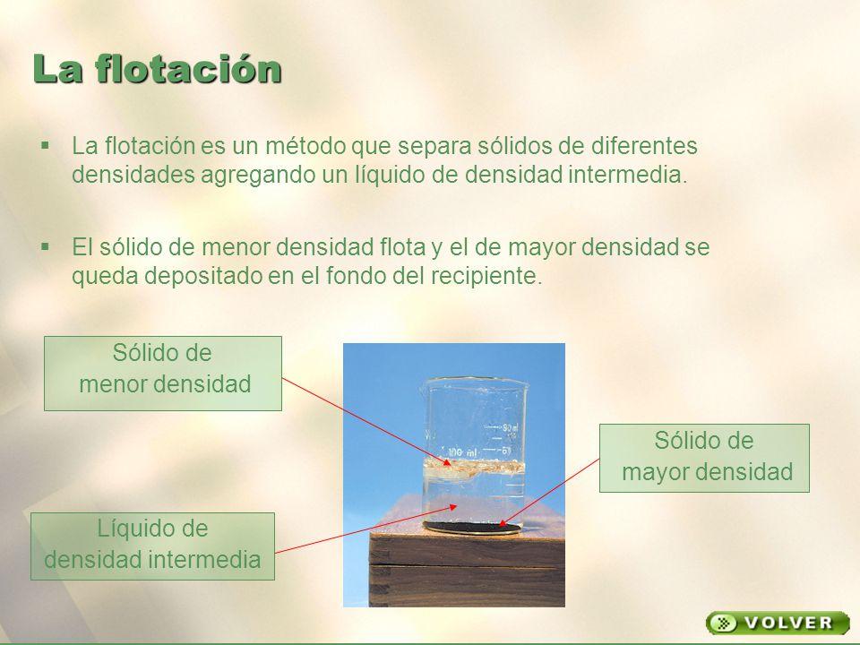 La flotación La flotación es un método que separa sólidos de diferentes densidades agregando un líquido de densidad intermedia.