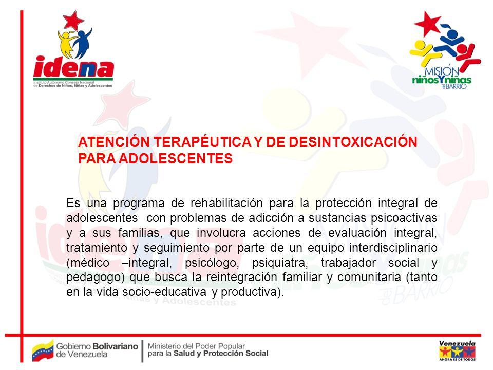 ATENCIÓN TERAPÉUTICA Y DE DESINTOXICACIÓN PARA ADOLESCENTES