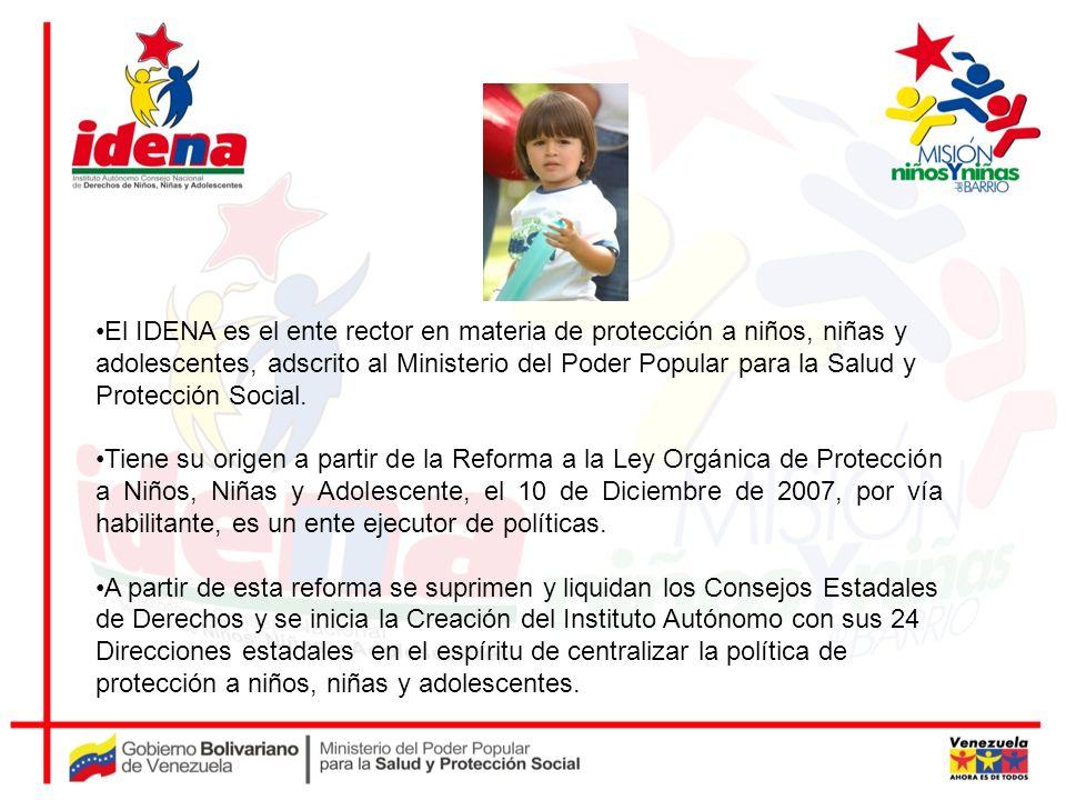 El IDENA es el ente rector en materia de protección a niños, niñas y adolescentes, adscrito al Ministerio del Poder Popular para la Salud y Protección Social.
