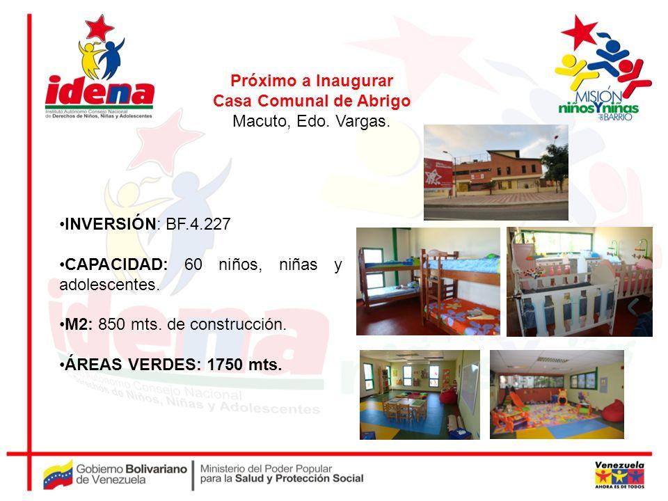 Próximo a Inaugurar Casa Comunal de Abrigo. Macuto, Edo. Vargas. INVERSIÓN: BF.4.227. CAPACIDAD: 60 niños, niñas y adolescentes.