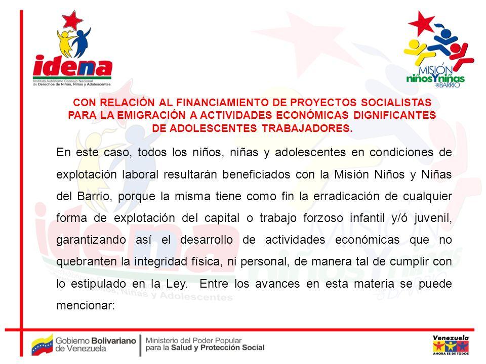 CON RELACIÓN AL FINANCIAMIENTO DE PROYECTOS SOCIALISTAS PARA LA EMIGRACIÓN A ACTIVIDADES ECONÓMICAS DIGNIFICANTES DE ADOLESCENTES TRABAJADORES.