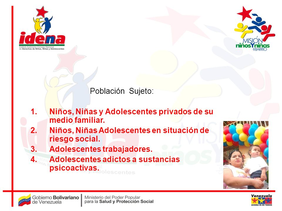 Población Sujeto:Niños, Niñas y Adolescentes privados de su medio familiar. Niños, Niñas Adolescentes en situación de riesgo social.