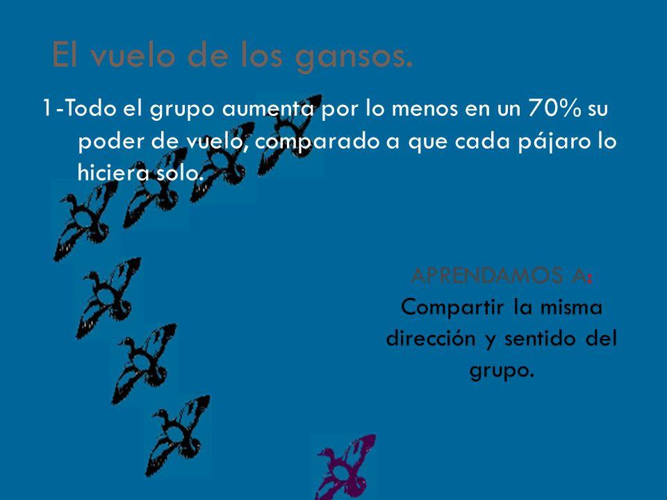 APRENDAMOS A: Compartir la misma dirección y sentido del grupo.