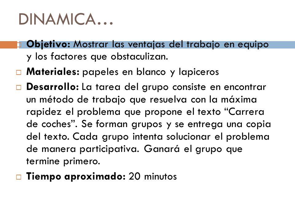 DINAMICA… Objetivo: Mostrar las ventajas del trabajo en equipo y los factores que obstaculizan. Materiales: papeles en blanco y lapiceros.