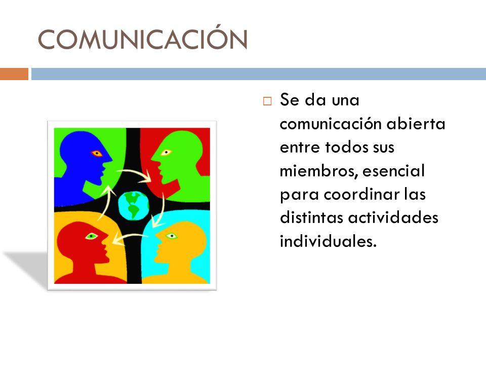 COMUNICACIÓN Se da una comunicación abierta entre todos sus miembros, esencial para coordinar las distintas actividades individuales.