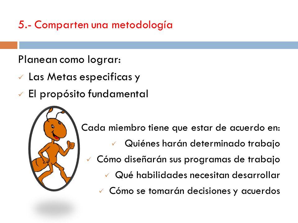 5.- Comparten una metodología Planean como lograr: