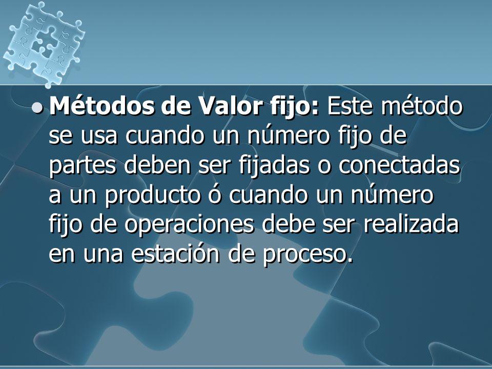 Métodos de Valor fijo: Este método se usa cuando un número fijo de partes deben ser fijadas o conectadas a un producto ó cuando un número fijo de operaciones debe ser realizada en una estación de proceso.