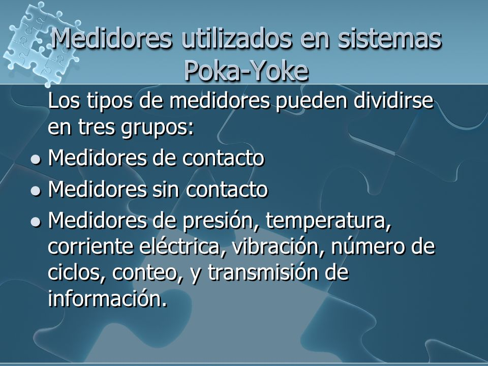 Medidores utilizados en sistemas Poka-Yoke