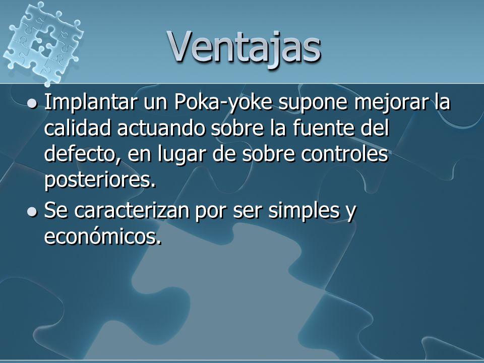 Ventajas Implantar un Poka-yoke supone mejorar la calidad actuando sobre la fuente del defecto, en lugar de sobre controles posteriores.