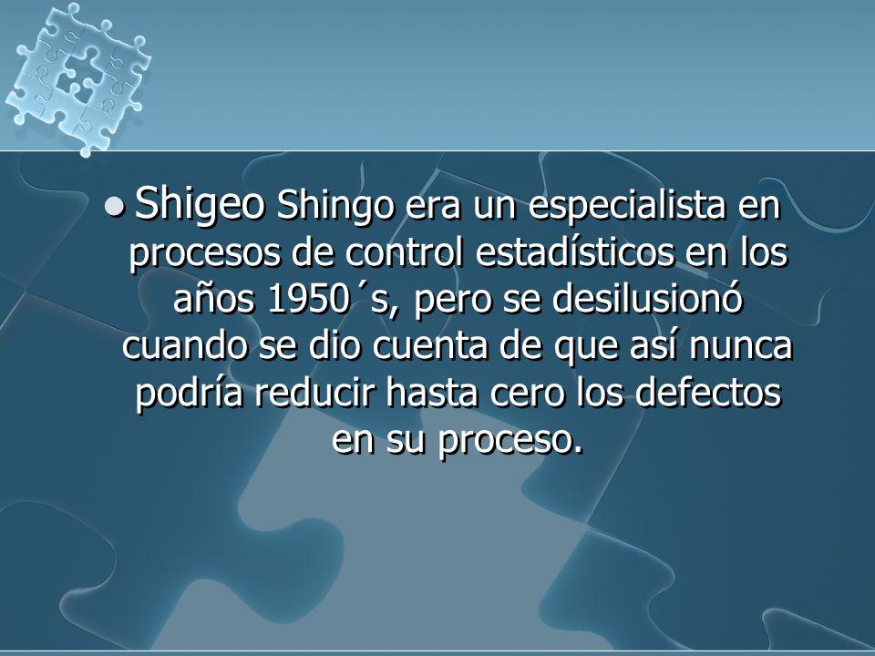 Shigeo Shingo era un especialista en procesos de control estadísticos en los años 1950´s, pero se desilusionó cuando se dio cuenta de que así nunca podría reducir hasta cero los defectos en su proceso.