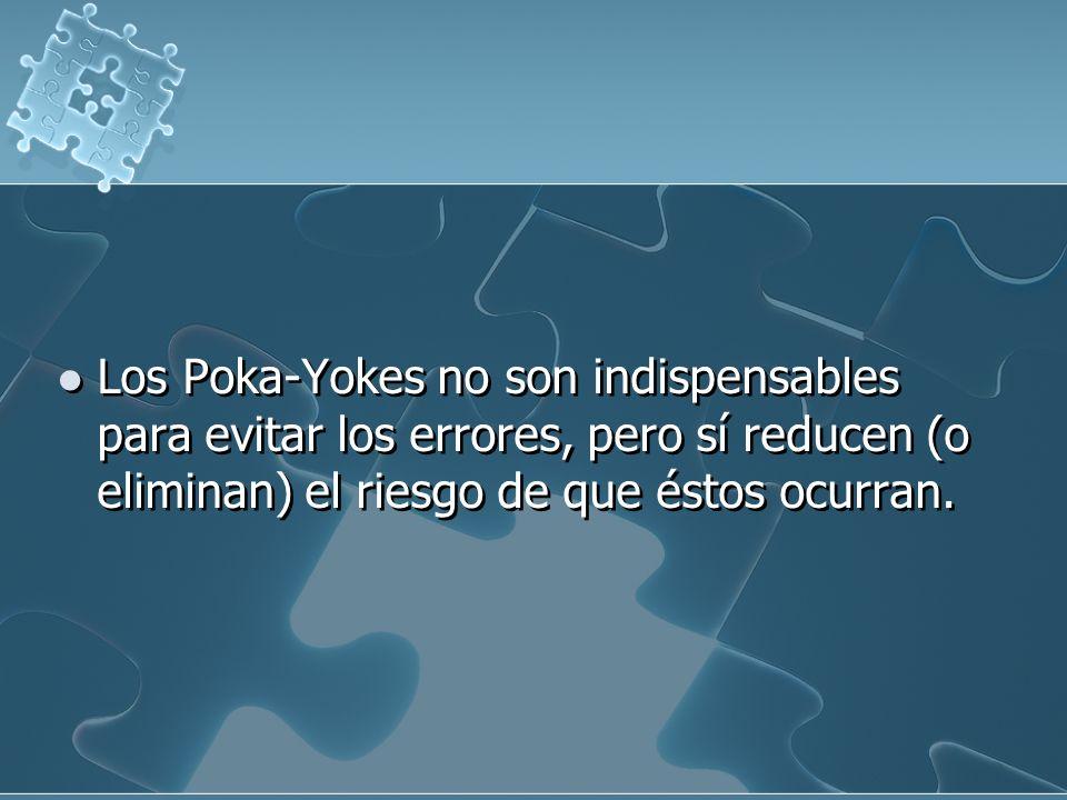 Los Poka-Yokes no son indispensables para evitar los errores, pero sí reducen (o eliminan) el riesgo de que éstos ocurran.