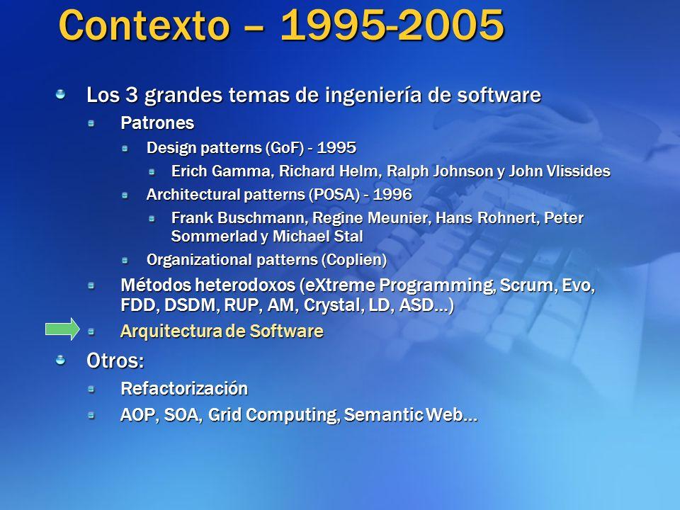 Contexto – 1995-2005 Los 3 grandes temas de ingeniería de software