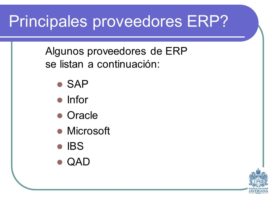 Principales proveedores ERP