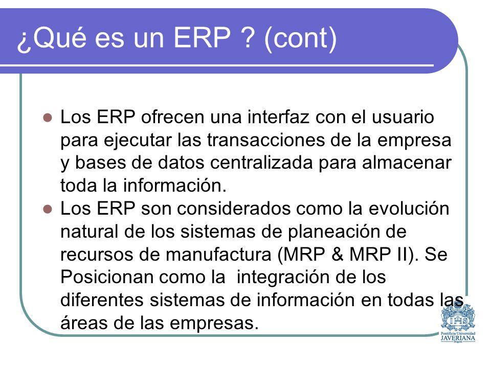 ¿Qué es un ERP (cont)