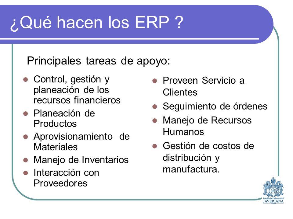 ¿Qué hacen los ERP Principales tareas de apoyo:
