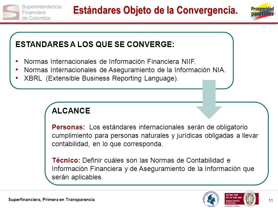 Estándares Objeto de la Convergencia.
