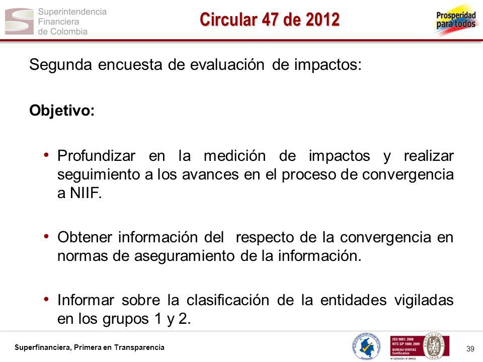 Circular 47 de 2012 Segunda encuesta de evaluación de impactos: