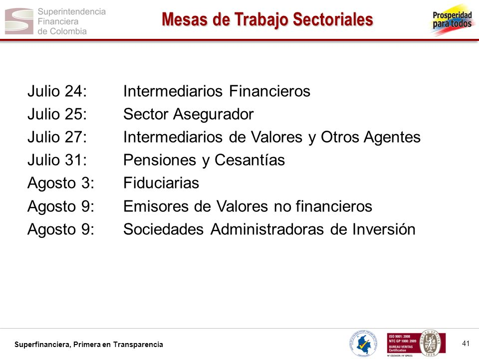 Mesas de Trabajo Sectoriales