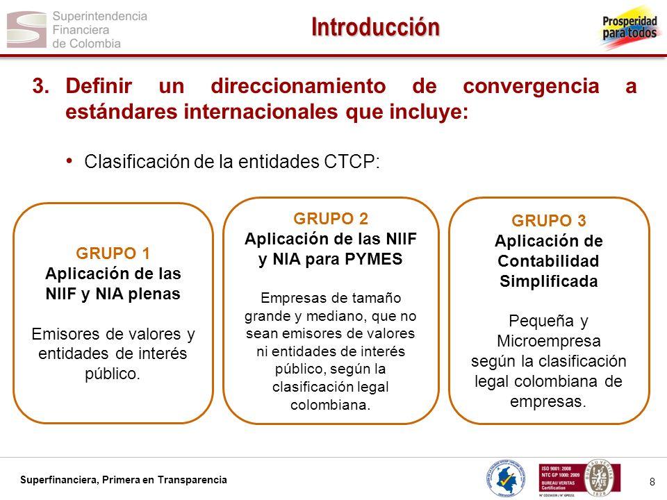 Introducción Definir un direccionamiento de convergencia a estándares internacionales que incluye: Clasificación de la entidades CTCP: