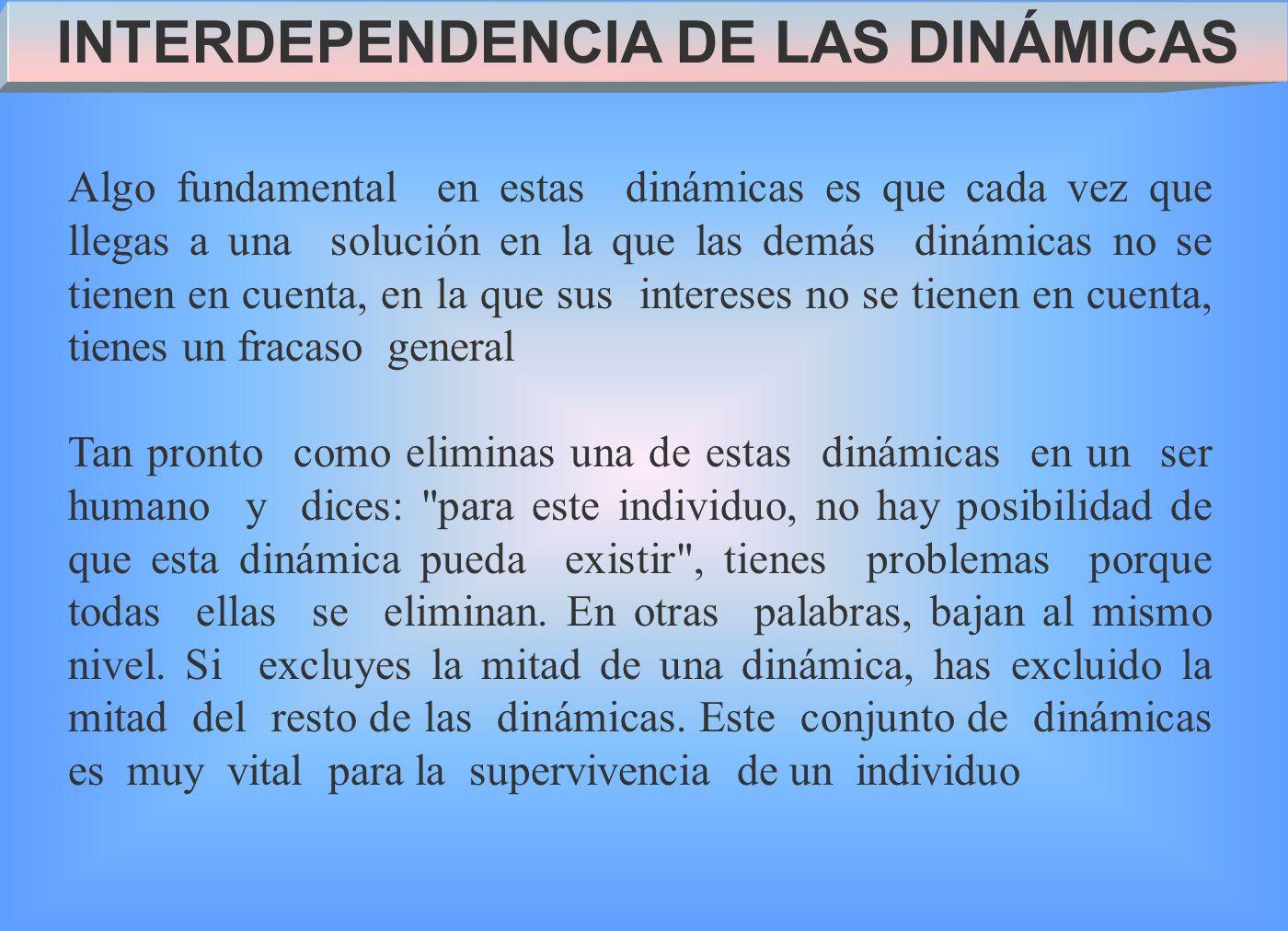 INTERDEPENDENCIA DE LAS DINÁMICAS