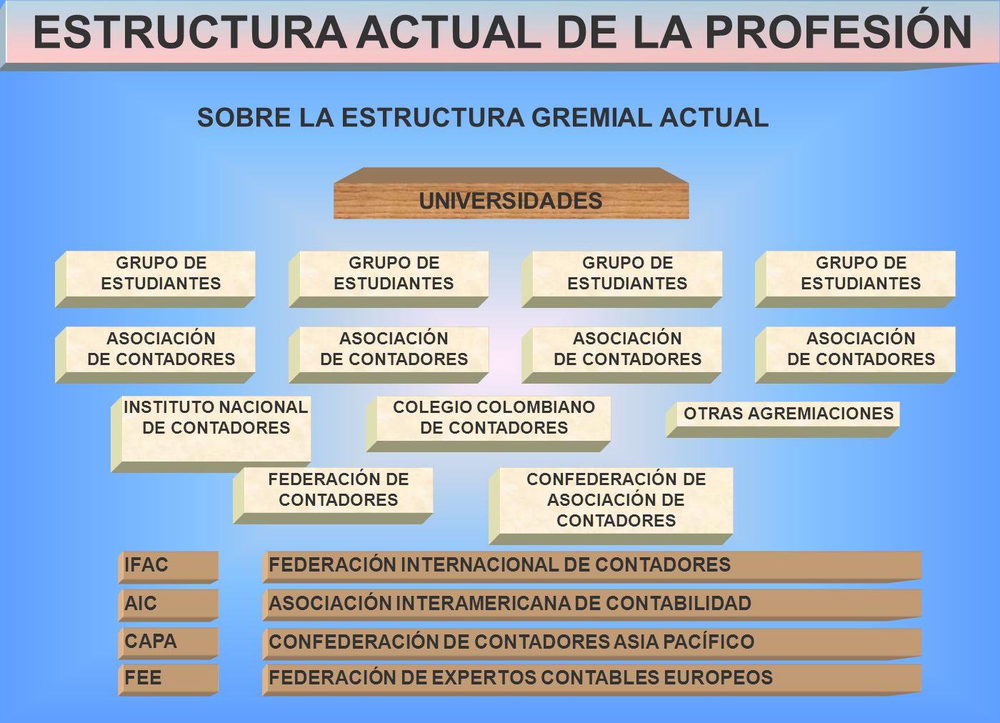ESTRUCTURA ACTUAL DE LA PROFESIÓN SOBRE LA ESTRUCTURA GREMIAL ACTUAL