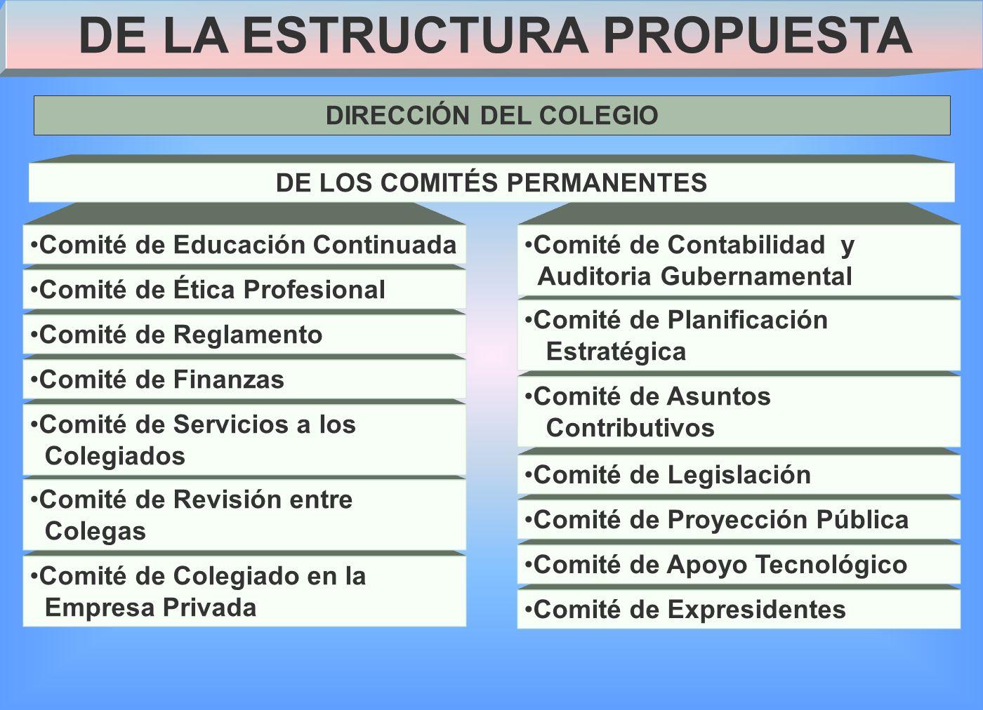 DE LA ESTRUCTURA PROPUESTA DE LOS COMITÉS PERMANENTES