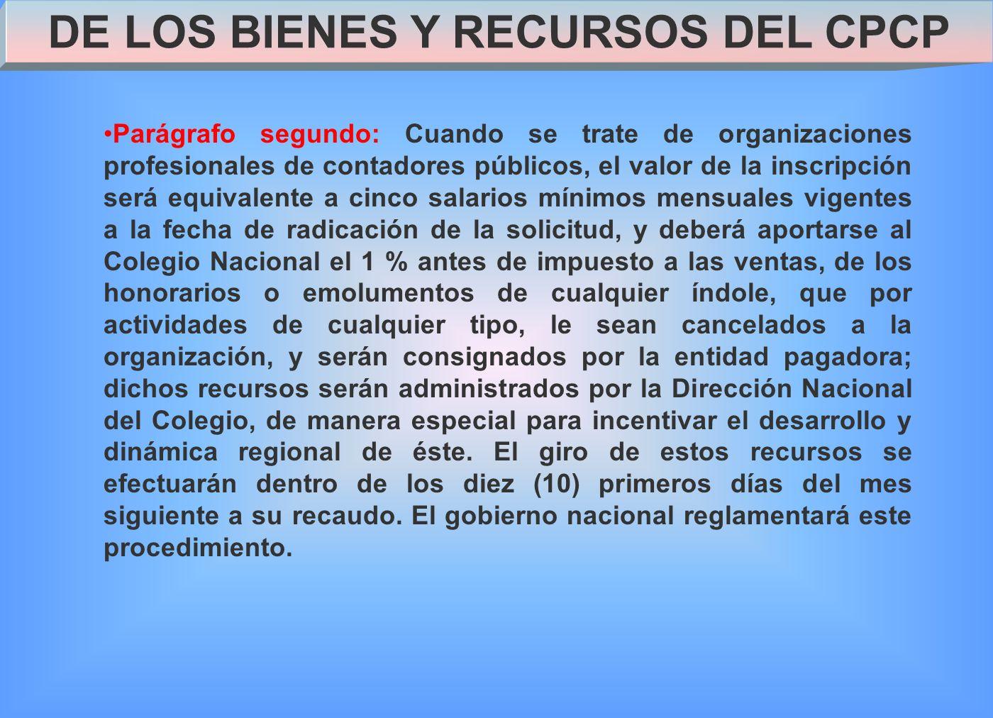 DE LOS BIENES Y RECURSOS DEL CPCP