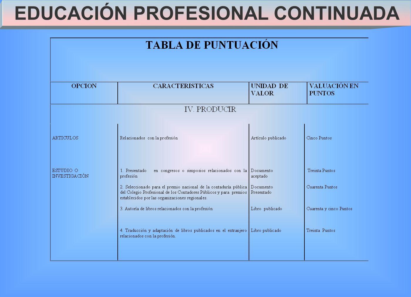EDUCACIÓN PROFESIONAL CONTINUADA
